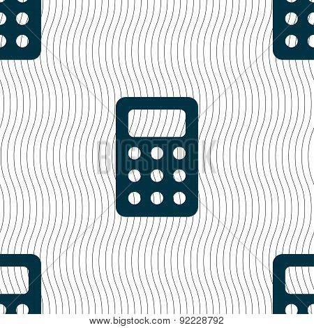 Calculator, Bookkeeping Icon Sign. Seamless Pattern With Geometric Texture. Vector