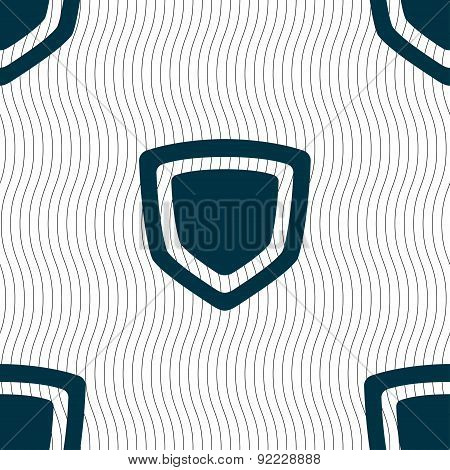Shield Icon Sign. Seamless Pattern With Geometric Texture. Vector