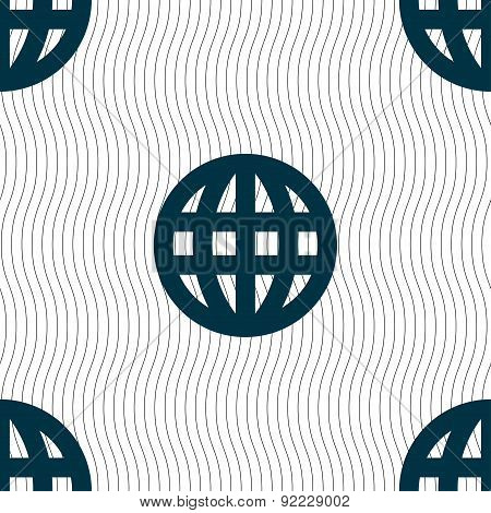 Globe, World Map Geography Icon Sign. Seamless Pattern With Geometric Texture. Vector