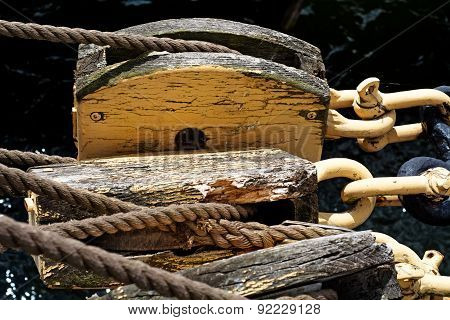 Ropes And Old Pulley On A Historic Sailing Ships
