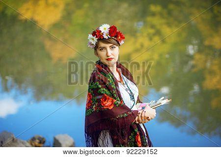 Russian folk woman artist