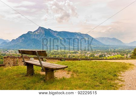 Vacant Bench On A Hill In Salzburg