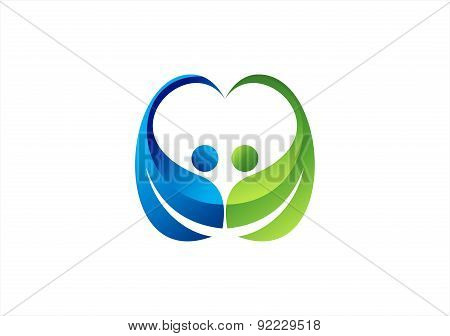 people heart logo, couple love symbol icon vector design