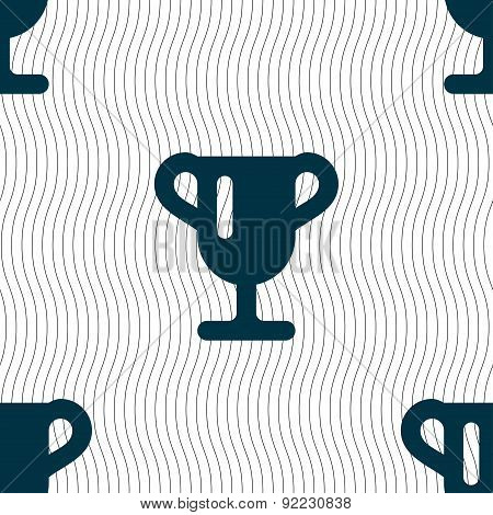 Winner Cup, Awarding Of Winners, Trophy Icon Sign. Seamless Pattern With Geometric Texture. Vector