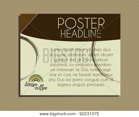 Coffee Brand Identity Banner. Fresh Roasted And Natural Coffee Cafe Poster Design With Coffee Stains