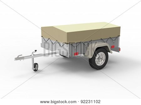 Car Trailer Isolate On A White Back Ground