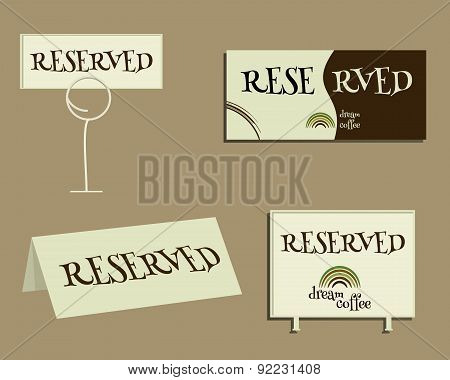 Reservation sign. With Green coffee logo design and coffee stains. Best for cafe, restaurant and oth