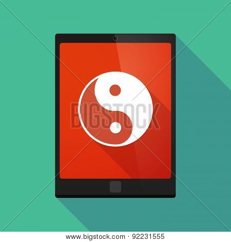 Tablet Pc Icon With A Ying Yang Sign
