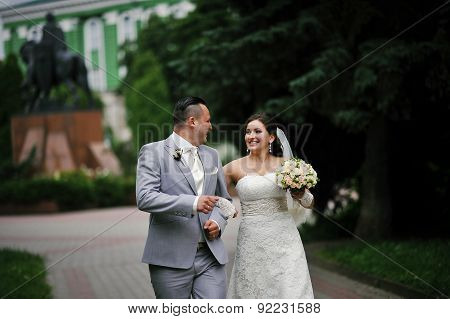 Newlyweds At They Wedding Day