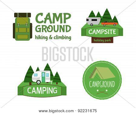 Outdoor  Activity Tourism Travel Logo Vintage Labels design template. RV, forest holiday park, carav
