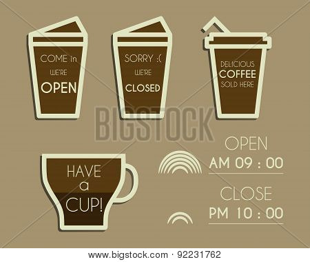 Coffee signs. Open and Closed elements. Dream coffee design with infographic elements. Isolated on b