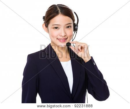 Customer services operator with hand holding the mic