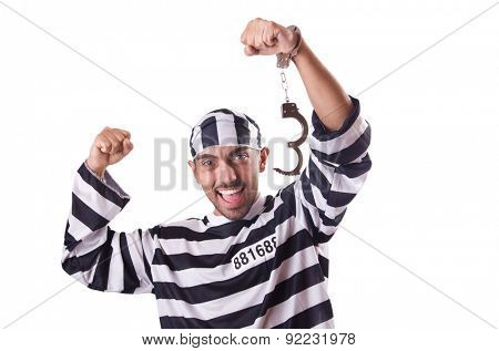 Prison inmate isolated on the white