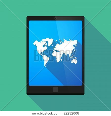 Tablet Pc Icon With A World Map