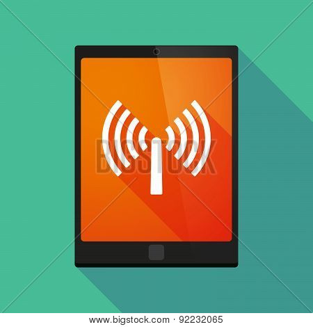 Tablet Pc Icon With An Antenna