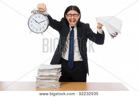 Young businessman isolated on the white background