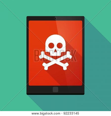 Tablet Pc Icon With A Skull