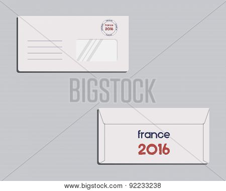 Brand identity template. Envelope. Front and back sides. France 2016 Football. The national colors o