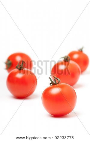 Organic Red Cherry Tomatoes,  Isolated on White Background