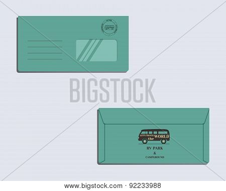 Brand identity template. Envelope. Front and back sides. Travel and Camping design with rv logo temp