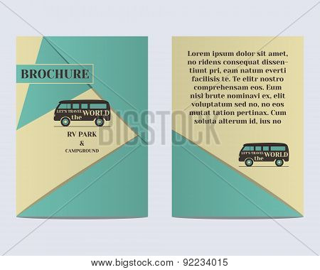 Travel Brochure Flyer design Layout template. Rv park and campground. Retro and Vintage colors desig