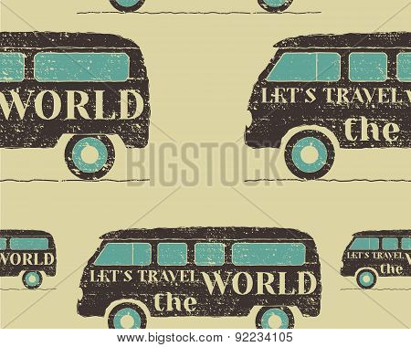 Vintage Seamless pattern camping. Retro Rv and motor home design. Travel theme. Vector