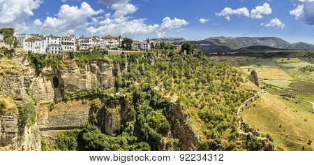 Ronda Landscape Panoramic View. A City In The Spanish Autonomous Community Of Andalusia.
