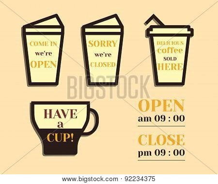 Coffee signs. Open and Closed elements. Fathers Day theme. Flat design. Best for thematic party. Iso