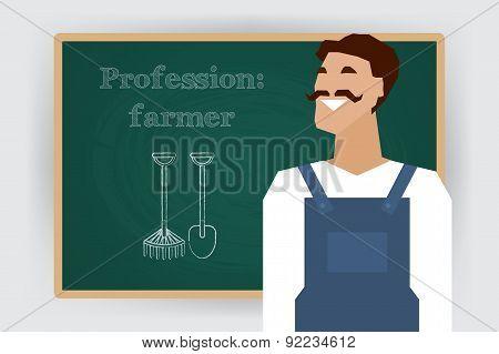 Occupation farmer worker profession. Vector illustration.