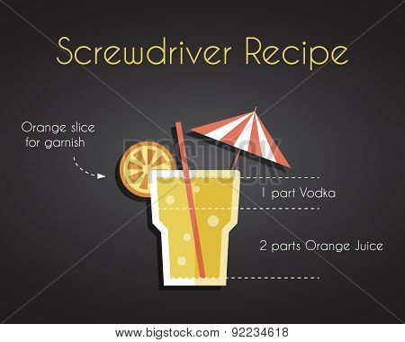 Screw driver cocktail drink recipe vector concept in trendy retro flat design style, with orange, is