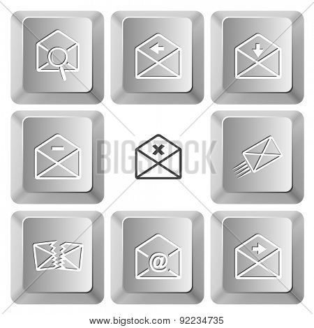 Mail set. Vector set computer keys.