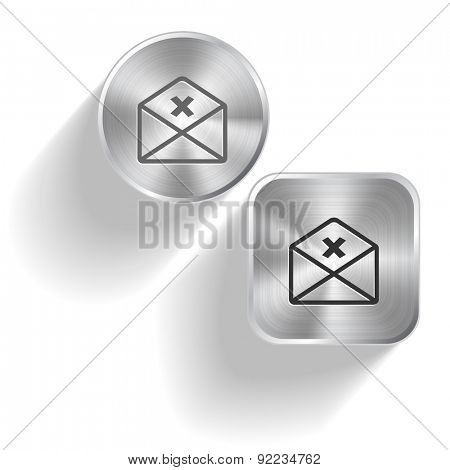 mail cancel. Vector set steel buttons