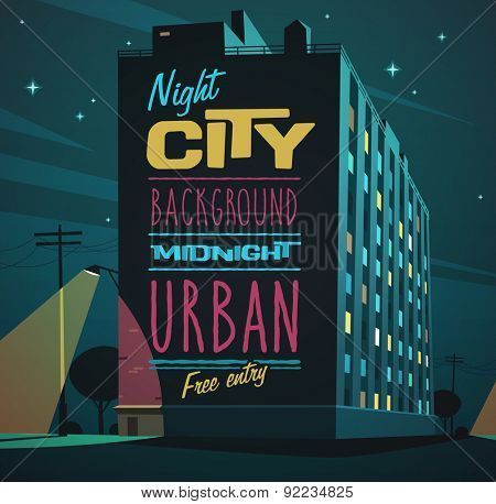 Night city. Vector illustration.