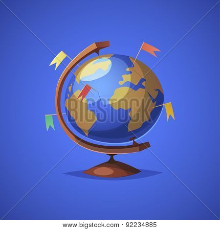 Globe with targets. Isolated object \ background.
