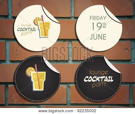 Lounge cocktail party badges and labels invitation template with Screw driver cocktail. Vintage desi