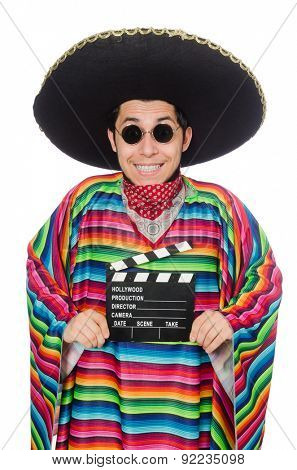 Funny mexican in poncho with clapper-board isolated on white