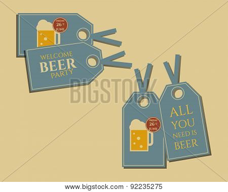 Beer party stickers and labels invitation template with glass of beer. Vintage design for club, pub