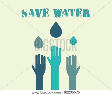 Save water poster concept with drops and hands. Ecology water crisis background. Vector