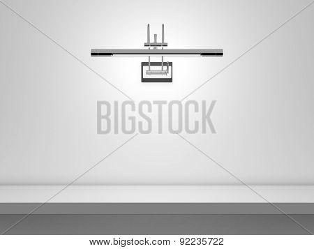Blank Shelf With Fluorescent Light