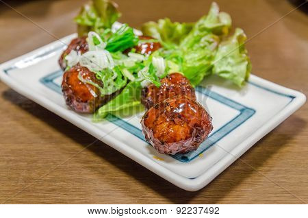 Meat Ball In White Plate