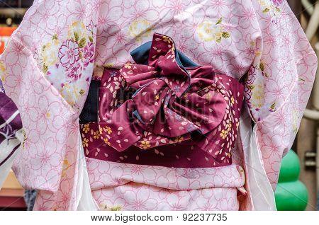 Pink Yukata And Violette Obi,traditional Japanese Dress