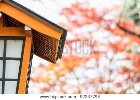 Japanese Style House Shaped Lamp With Colorful Autumn Leaves