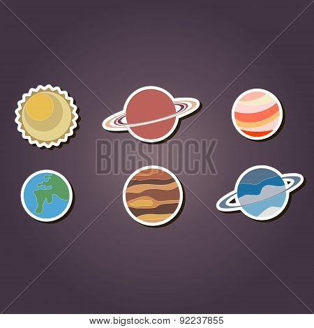 set of color icons with planets of the solar system