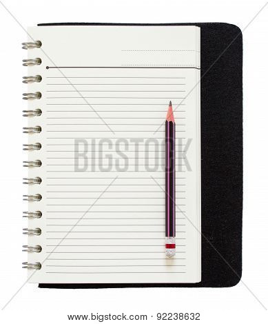 Blank Spiral Notepad And Pencil Isolated On White Background