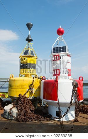 Colorful buoys for navigation in the sea