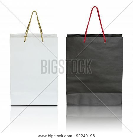 Black And White Paper Bag On White Background
