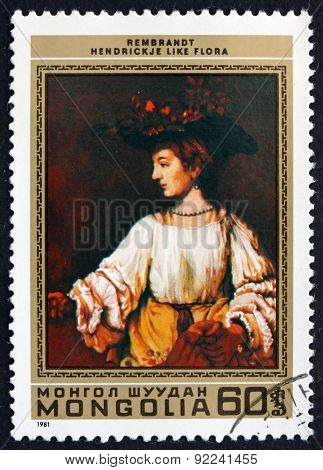 Postage Stamp Mongolia 1981 Hendrickje Like Flora, By Rembrandt