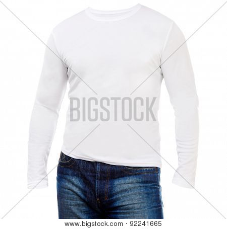 white shirt with long sleeves isolated on a white background