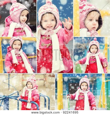 collage photo girl in a red coat and a pink winter cap playing in the yard