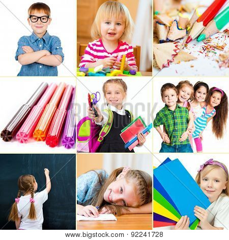 Photo collage of small children with their school supplies and toys